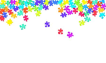 Business tickler jigsaw puzzle rainbow colors parts vector illustration. Group of puzzle pieces isolated on white. Strategy abstract concept. Jigsaw pieces clip art.