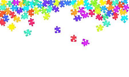 Business tickler puzzle arcobaleno colori parti illustrazione vettoriale. Gruppo di pezzi di puzzle isolati su bianco. Concetto astratto di strategia. ClipArt di pezzi di puzzle.