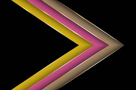 Polygonal arrow with gold triangle edge lines banner vector design. Premium banner background template. Poly gradient shapes with metallic glossy edge lines. Cool geometric graphic concept. Banque d'images - 130428368
