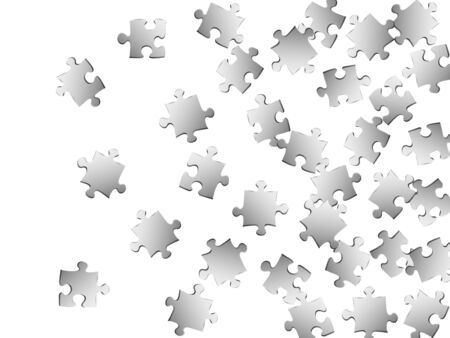 Game teaser jigsaw puzzle metallic silver parts vector illustration. Top view of puzzle pieces isolated on white. Challenge abstract concept. Game and play symbols. Stock Illustratie