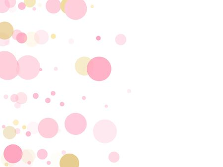 Rose gold confetti circle decoration for wedding invitation card. Holiday vector decor. Gold, pink and rose color round confetti dots, circles scatter on white. Elegant bokeh background. Иллюстрация