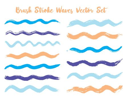 Craft brush stroke waves vector set. Hand drawn blue cyan brushstrokes, ink splashes, watercolor splats, hand painted curls. Interior paint color palette elements. Wavy stripes vector set.  イラスト・ベクター素材