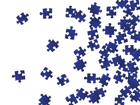 Business conundrum jigsaw puzzle dark blue pieces vector background. Top view of puzzle pieces isolated on white. Strategy abstract concept. Jigsaw match elements. Stock Illustratie