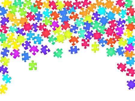 Business conundrum jigsaw puzzle rainbow colors pieces vector background. Group of puzzle pieces isolated on white. Problem solving abstract concept. Jigsaw gradient plugins.