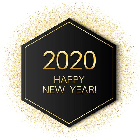 2020 Happy New Year card with gold glitter luxurious shining confetti background. Geometric hexagon frame with glittering gold sparkle tinsels. New Year premium vector template.