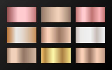 Cool golden, silver, bronze, pink gold gradients. Metallic foil texture silver, steel, chrome, platinum, copper, bronze, aluminum, rose gold gradient swatches. Shiny metallic swatches collection.