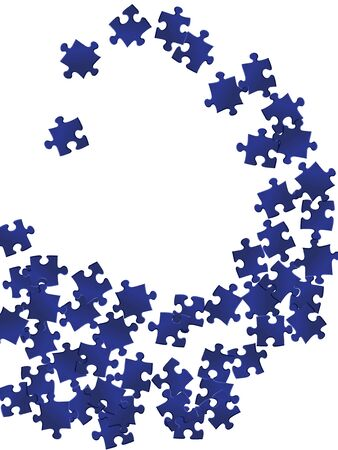Abstract mind-breaker jigsaw puzzle dark blue pieces vector background. Scatter of puzzle pieces isolated on white. Strategy abstract concept. Jigsaw match elements.
