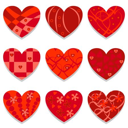 Vector red hearts set. Love symbols collection. Pink red hearts in different styles. Valentine symbols, love signs vector collection.