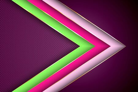 Polygonal arrow with gold triangle edge lines banner vector design. Rich banner background template. Futuristic cover graphic design. Ribbon stripes overlap on halftone dots background. Banque d'images - 130562403