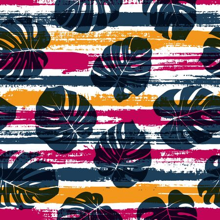 Tropical monstera philodendron liana hole leaves overlaying stripes vector seamless pattern. Polynesian jungle foliage beach fashion fabric print. Stripes and tropical leaves illustration. Иллюстрация