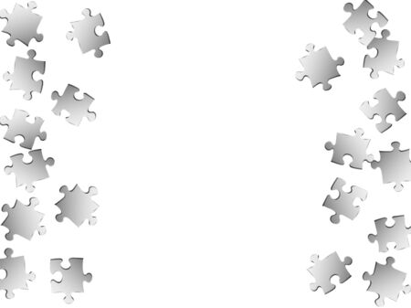 Game conundrum jigsaw puzzle metallic silver parts vector illustration. Scatter of puzzle pieces isolated on white. Teamwork abstract concept. Kids building kit pattern.