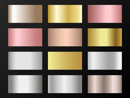 Cool golden, silver, bronze, rose gold gradients. Metallic foil texture silver, steel, chrome, platinum, copper, bronze, aluminum, pink gold gradient swatches. Shiny metallic swatches collection.