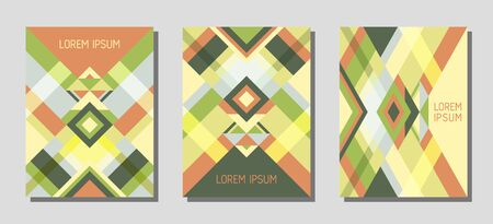 Collection of cover page layouts, vector templates geometric design with triangles and stripes. Folklore brazil motifs. Bauhaus pattern vector covers design. Modern rhombus stripe triangle shapes. Ilustrace