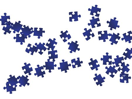 Game mind-breaker jigsaw puzzle dark blue parts vector illustration. Top view of puzzle pieces isolated on white. Strategy abstract concept. Game and play symbols. Stock Illustratie