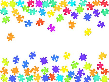 Game teaser jigsaw puzzle rainbow colors parts vector illustration. Top view of puzzle pieces isolated on white. Teamwork abstract concept. Jigsaw gradient plugins.