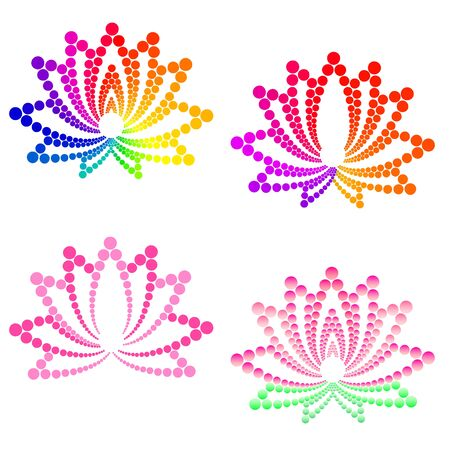Lotus flowers with pink and rainbow petals isolated on white. Logo dotted vector illustration. Stylized lotus flowers for logo design.