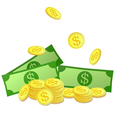 Golden coins and dollars symbol. Money illustration. Bank notes, bills fly, gold coins. Flat vector cartoon illustration. Objects isolated on a white background. Иллюстрация
