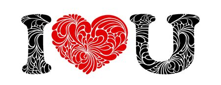 I love You floral vector illustration. Red heart, I and U calligraphic letters. I love you message, t-shirt print.