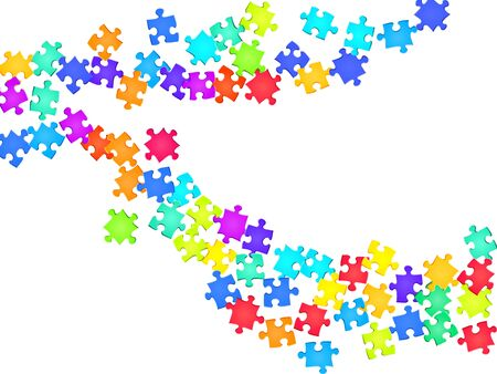 Business conundrum jigsaw puzzle rainbow colors pieces vector background. Top view of puzzle pieces isolated on white. Success abstract concept. Jigsaw pieces clip art. Vettoriali