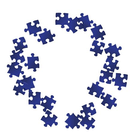 Business teaser jigsaw puzzle dark blue pieces vector background. Top view of puzzle pieces isolated on white. Success abstract concept. Connection elements.