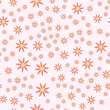 Minimal flower seamless pattern vector illustration. Elegant template for fashion prints. Trendy simple flower seamless background. Botanical motifs vector illustration with abstract chamomile. Çizim