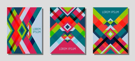 Set of cover page layouts, vector templates geometric design with triangles and stripes. Ethnic brazilian motifs. Bauhaus pattern vector covers design. Minimal rhombus stripe triangle shapes.