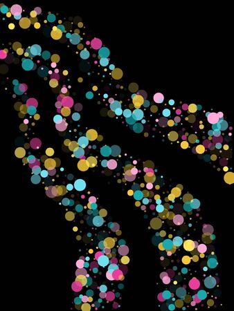 Memphis round confetti falling background in cayn, pink and yellow on black.  Childish pattern vector, kid's party birthday celebration background.  Holiday confetti circles in memphis style.