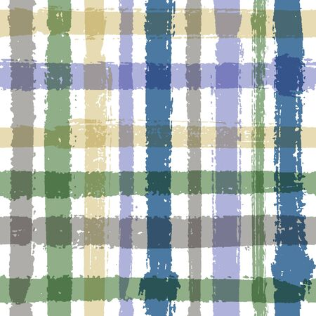 Crossed lines chequered pattern seamless stripes backdrop. Boho striped fabric print textile design. Vector intersecting lines kilt pattern. Colorful simple crossed stripes grid. Ilustrace