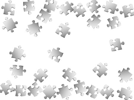 Business teaser jigsaw puzzle metallic silver parts vector illustration. Top view of puzzle pieces isolated on white. Success abstract concept. Jigsaw pieces clip art.
