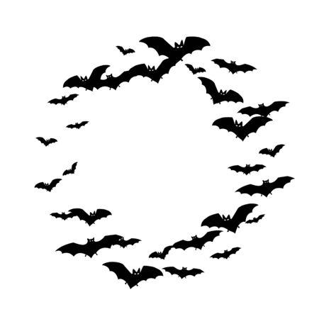 Hazardous black bats swarm isolated on white vector Halloween background. Flittermouse night creatures illustration. Silhouettes of flying bats vampire Halloween symbols on white.