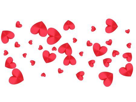 Rosa Herzen fallendes Grafikdesign. Vektorsymbole für Liebe und Freundschaft. Trendy Jubiläumsfeier Hintergrund. Partydekorherz formt schöne Feiertagsdekoration.