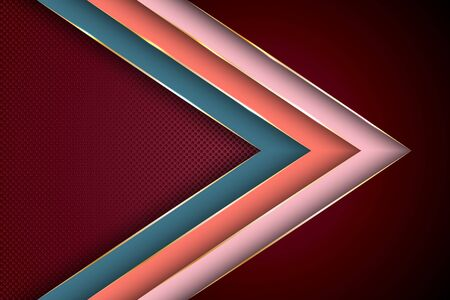 Polygonal arrow with gold triangle edge lines banner vector design. Glamour business background template. Multi layers paper cut material design. Cool geometric graphic concept. Banque d'images - 130562518