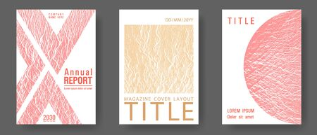 Magazine cover layouts vector design. Sand and coral colors waves textures. Presentation slides cover pages. Fluid buzzing wavy noise ripple texture. Stylish magazine templates design set.
