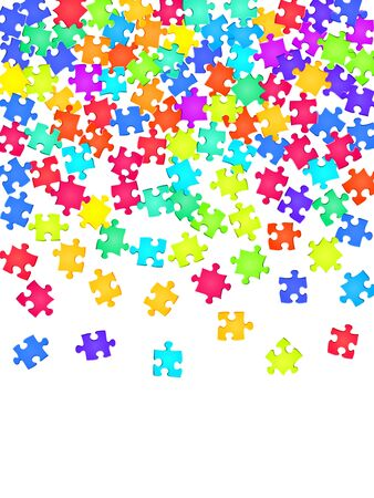 Business brainteaser jigsaw puzzle rainbow colors pieces vector background. Group of puzzle pieces isolated on white. Success abstract concept. Connection elements. Stock Illustratie