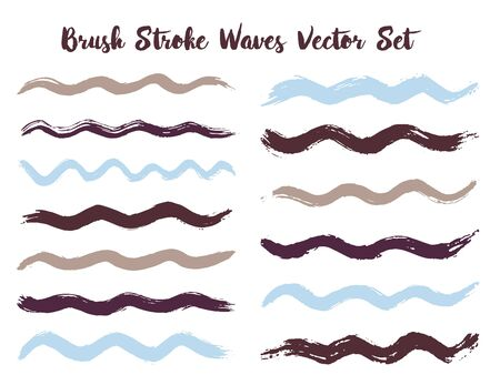 Trendy brush stroke waves vector set. Hand drawn blue grey brushstrokes, ink splashes, watercolor splats, hand painted curls. Vector ink traces, color combinations. Summer design paint brush curves. Çizim