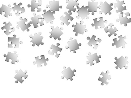 Abstract enigma jigsaw puzzle metallic silver parts vector illustration. Scatter of puzzle pieces isolated on white. Strategy abstract concept. Kids building kit pattern. Stock Illustratie