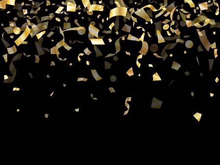 Gold glossy realistic confetti flying on black holiday vector backdrop. Chic flying tinsel elements, gold foil gradient serpentine streamers confetti falling anniversary background.