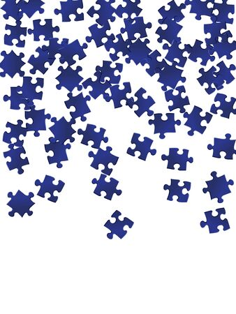 Game enigma jigsaw puzzle dark blue pieces vector background. Group of puzzle pieces isolated on white. Cooperation abstract concept. Jigsaw match elements. Stock Illustratie