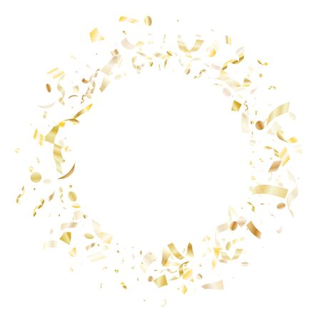 Gold glitter confetti flying on white holiday vector backdrop. Modern flying tinsel elements, gold foil gradient serpentine streamers confetti falling xmas vector.