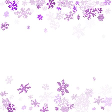 Winter snowflakes border simple vector background. Macro snowflakes flying border illustration, holiday card with flakes confetti scatter frame, snow elements. Cold weather winter symbols.