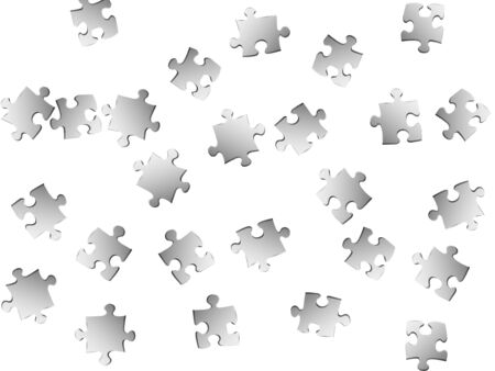 Business teaser jigsaw puzzle metallic silver pieces vector background. Group of puzzle pieces isolated on white. Cooperation abstract concept. Jigsaw match elements.
