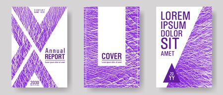 Flyer poster vector graphic design set. Proton purple color waves textures. Buzzing flux ripple movement background. Geometric creative solutions. Modern poster, cover or flyer templates.