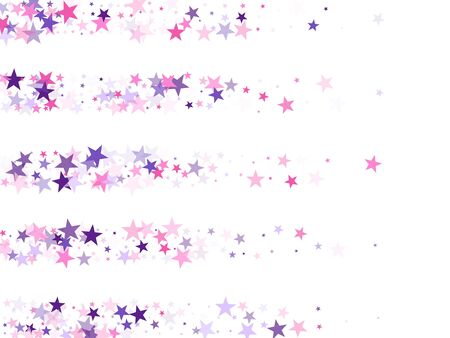 Flying stars confetti holiday vector in pink violet purple on white. Chaotic holiday decor backdrop. Trendy stars explosion background. Magical starry bright card decoration.