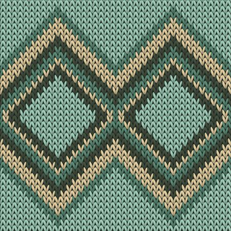 Yarn rhombus argyle knitted texture geometric seamless pattern. Plaid stockinet ornament. Norwegian style seamless knitted pattern. Winter holidays wallpaper.