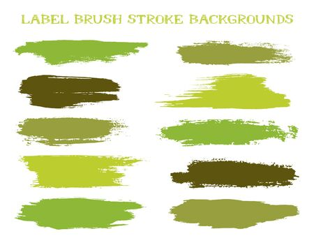 Retro label brush stroke backgrounds, paint or ink smudges vector for tags and stamps design. Painted label backgrounds patch. Interior colors scheme swatches. Ink dabs, green splashes. Ilustração