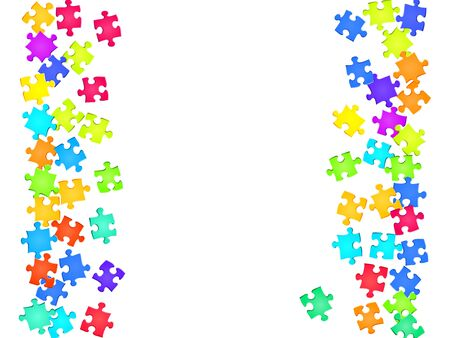 Business conundrum jigsaw puzzle rainbow colors parts vector illustration. Group of puzzle pieces isolated on white. Challenge abstract concept. Jigsaw match elements.