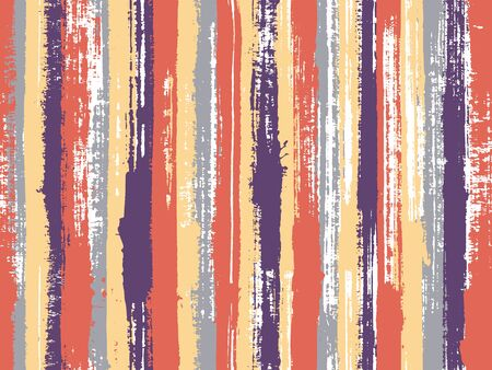 Watercolor strips seamless vector background. Striped tablecloth textile print. Uneven ink hatch vertical lines textile pattern. Cute wall decor ornament sample. Stock Illustratie