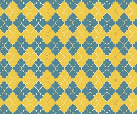 Arabian Mosque Vector Seamless Pattern. Argyle rhombus muslim fabric background. Traditional mosque pattern with gold grid. Rich islamic argyle seamless design of lantern lattice shape tiles. Çizim