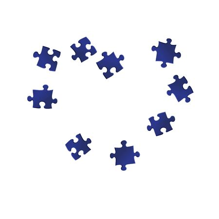 Abstract riddle jigsaw puzzle dark blue parts vector illustration. Scatter of puzzle pieces isolated on white. Teamwork abstract concept. Game and play symbols. Stock Illustratie