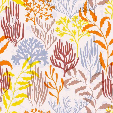 Ocean corals seamless pattern. Kelp laminaria seaweed algae background. Natural summer pattern. Marine water plants wallpaper vector graphics. Red Sea coral reef branches and bushes cartoon. 向量圖像